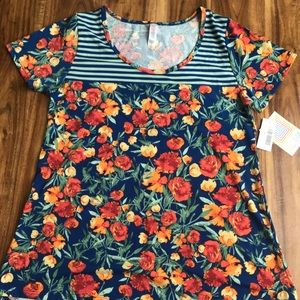LuLaRoe, Stripes and Floral Classic Tee, size S